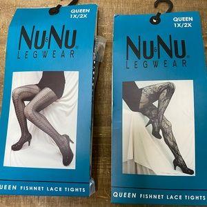 NIB Lot of 2 Nu&Nu Leg Wear Fishnet Lace Tights